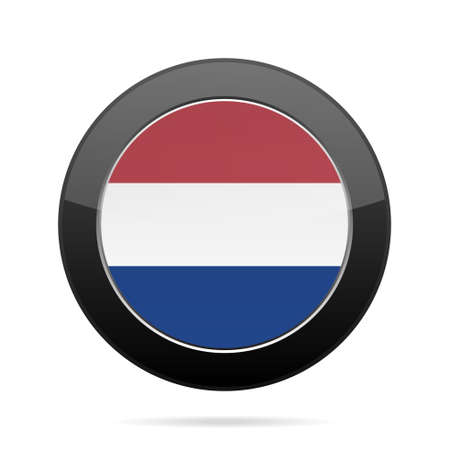 National flag of Netherlands. Shiny black round button with shadow.