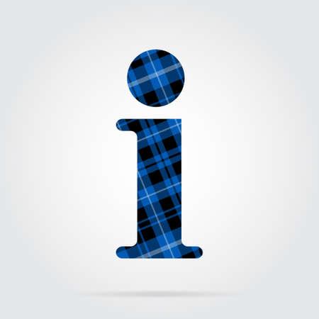 blue, black isolated tartan icon with white stripes - information symbol and shadow in front of a gray background