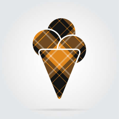 Orange, black isolated tartan icon with white stripes - ice cream with three scoops and shadow in front of a gray background Illustration