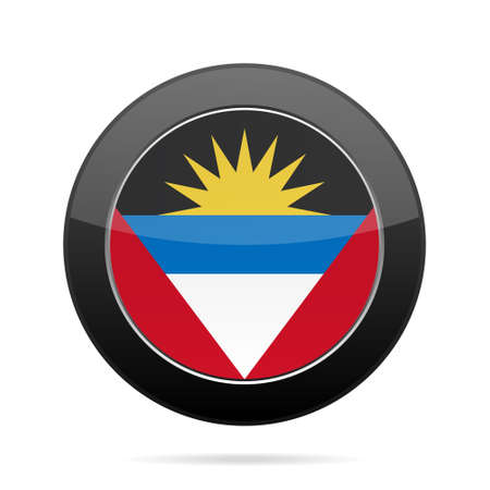 antigua: National flag of Antigua and Barbuda in shiny black round pin with shadow.