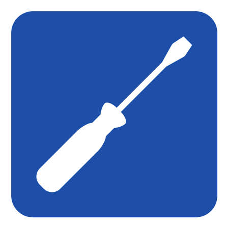 blue rounded square information road sign with white screwdriver icon Illustration