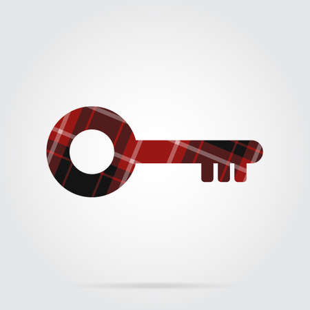 Red, black isolated tartan icon with white stripes - key and shadow.