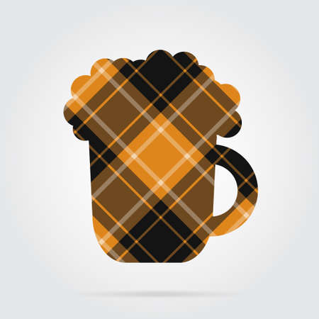 Artistic design of an orange, black isolated tartan icon with white stripes - beer and foam, shadow in front of a gray background Illustration
