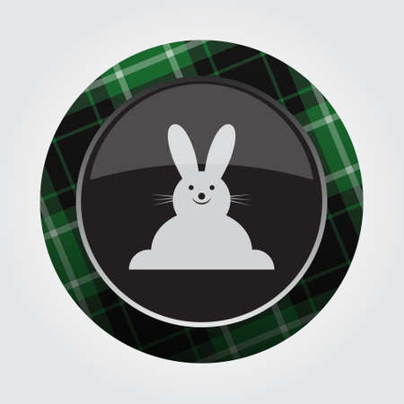 Black isolated button with green, black and white tartan pattern on the border - light gray happy smiling rabbit, front view.