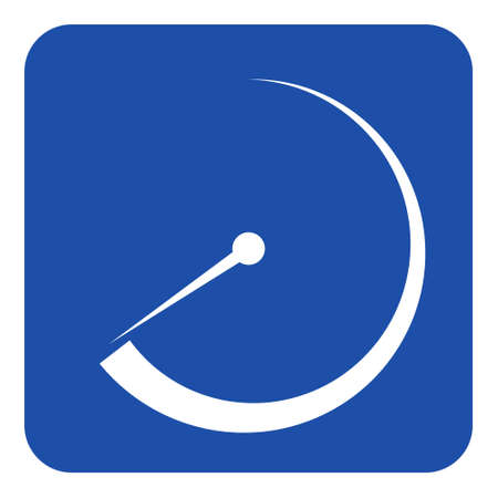 Blue rounded square information road sign with white gauge, dial symbol icon