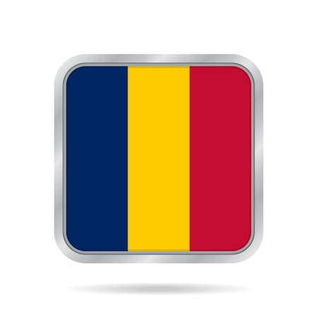 National flag of Chad. Shiny metallic gray square button with shadow.