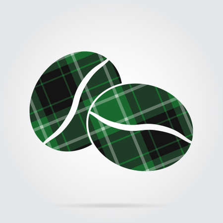 Green, black isolated tartan icon with white stripes - two coffee beans and shadow in front of a gray background Illustration