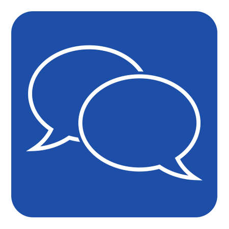 blue rounded square information road sign with two white outline speech bubbles icon