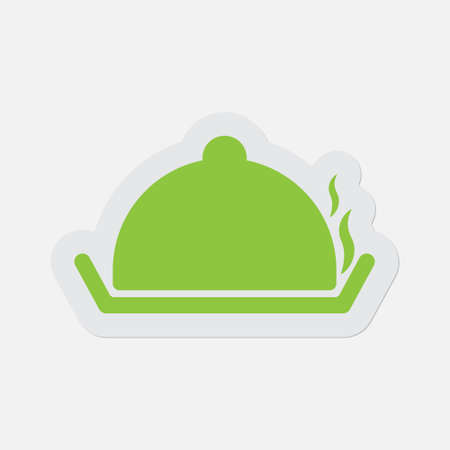 fumes: simple green icon with light gray contour and shadow - serving tray with lid and smoke on a white background