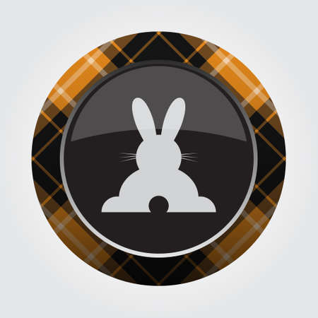 Black isolated button with orange, black and white tartan pattern on the border - light gray happy rabbit, rear view icon in front of a gray background