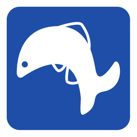 caudal: blue rounded square information road sign with white jumping fish, dolphin icon