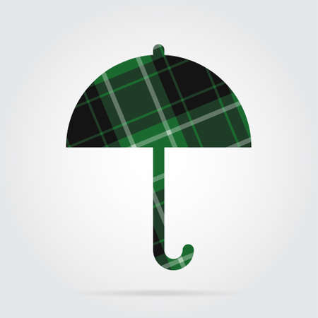 brolly: green, black isolated tartan icon with white stripes - umbrella and shadow in front of a gray background