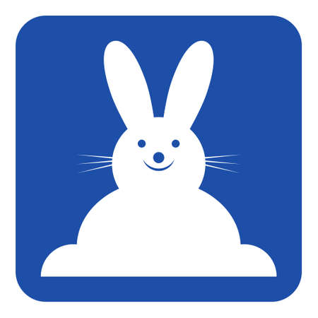 blue rounded square information road sign with white happy smiling rabbit - front view icon.
