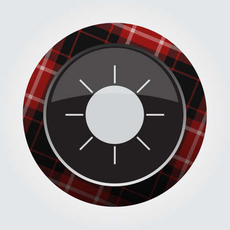 Black isolated button with red, black and white tartan pattern on the border - light gray weather sun, sunny icon in front of a gray background. Illustration