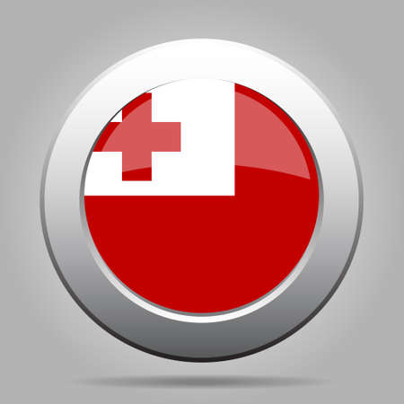 National flag of Tonga. Shiny metal gray round button with shadow. Illustration