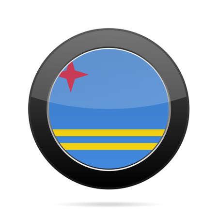 flag: National flag of Aruba. Shiny black round button with shadow. Illustration