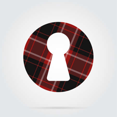 Red, black isolated tartan icon with white stripes - keyhole and shadow in front of a gray background