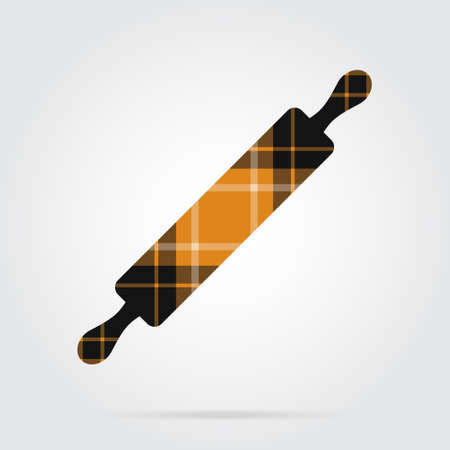 Orange, black isolated tartan icon with white stripes - rolling pin and shadow in front of a gray background Illustration