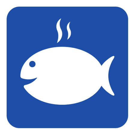 blue rounded square information road sign - white grilling fish with smoke icon