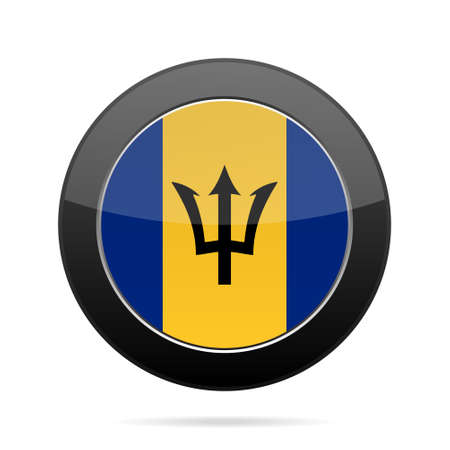National flag of Barbados. Shiny black round button with shadow. Illustration