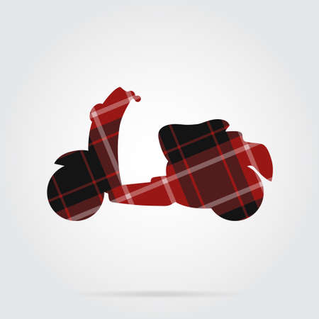 red, black isolated tartan icon with white stripes - scooter and shadow in front of a gray background Illustration