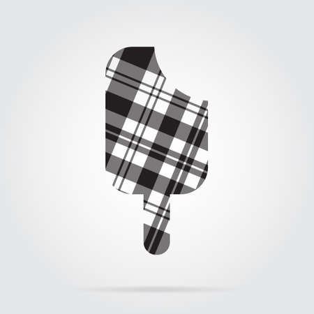 grey background texture: grayscale, gray, black isolated tartan icon with white stripes - stick ice cream and shadow in front of a gray background