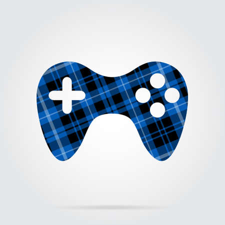 blue, black isolated tartan icon with white stripes - gamepad and shadow in front of a gray background