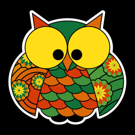 squinting: sticker - cute colored owl with big yellow squinting eyes, isolated in front of a black background