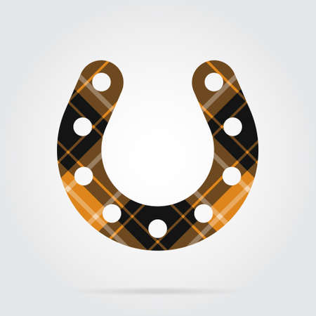 orange, black isolated tartan icon with white stripes - horseshoe with holes and shadow in front of a gray background Illustration