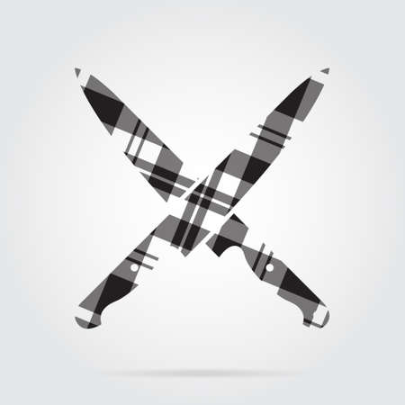 Grayscale, gray, black isolated icon with white stripes - two crossed kitchen knives and shadow in front of a gray background Illustration
