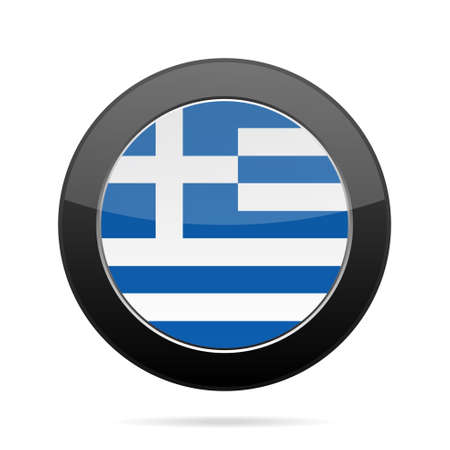 grecian: National flag of Greece. Shiny black round button with shadow.