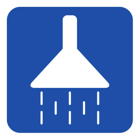 blue rounded square information road sign with white shower icon Illustration