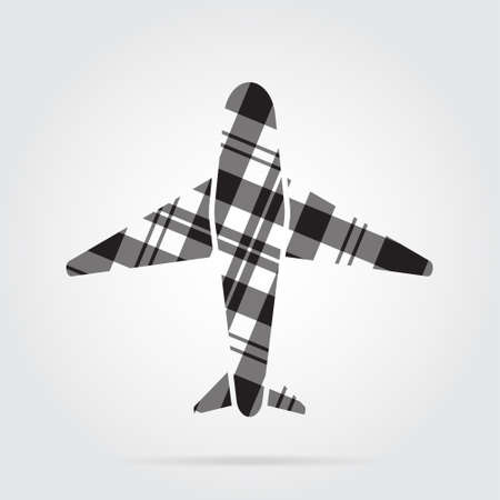 Grayscale, gray, black isolated tartan icon with white stripes - airliner and shadow in front of a gray background