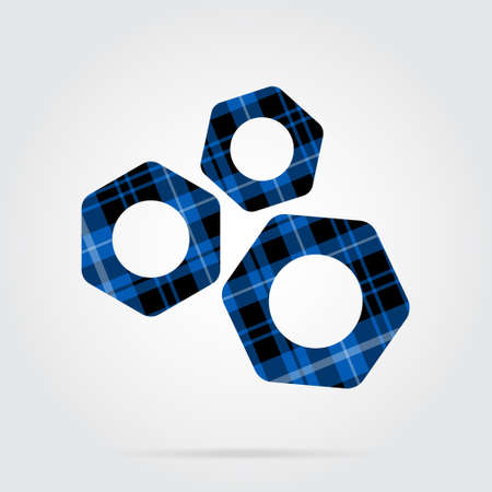 blue, black isolated tartan icon with white stripes - three nuts and shadow in front of a gray background