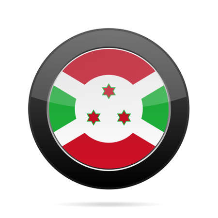 National flag of Burundi. Shiny black round button with shadow.