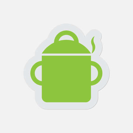 simple green icon with light gray contour and shadow - cooking pot with smoke on a white background Illustration