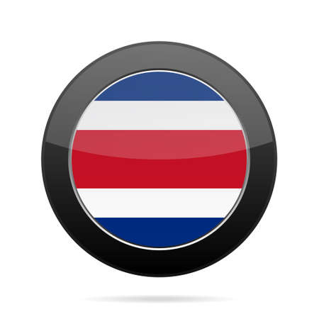 costa rican flag: National flag of Costa Rica. Shiny black round button with shadow. Illustration