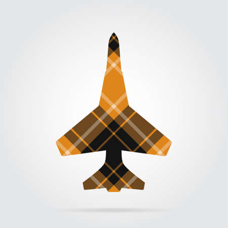 orange, black isolated tartan icon with white stripes - fighter and shadow in front of a gray background Illustration