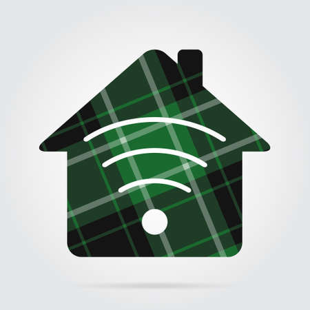green, black isolated tartan icon with white stripes - house with signal and shadow in front of a gray background Illustration