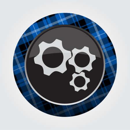Schwarzes lokalisierte Knopf mit blauem, Schwarzweiss-Schottenstoffmuster auf der Grenze - hellgraue Zahnradikone drei vor einem grauen Hintergrund