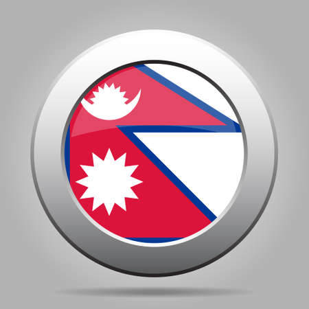 sunup: National flag of Nepal. Shiny metal gray round button with shadow.