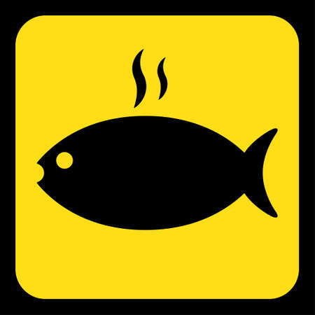 yellow rounded square information road sign - black grilling fish with smoke icon and frame