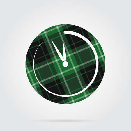 green, black isolated tartan icon with white stripes - last minute clock and shadow in front of a gray background