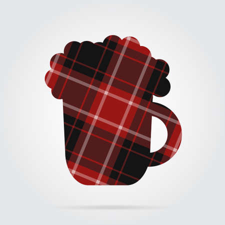 Red, black isolated tartan icon with white stripes - beer with foam and shadow in front of a gray background Illustration