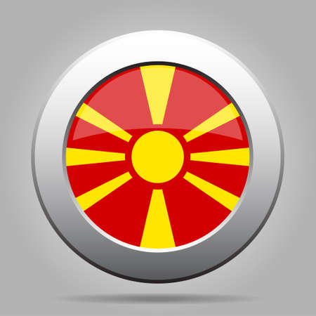 National flag of Macedonia. Shiny metal gray round button with shadow.