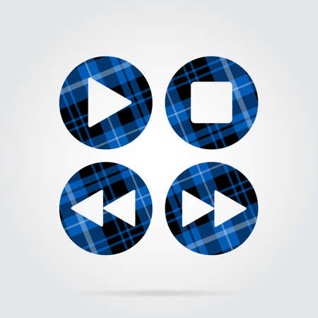 blue, black isolated tartan icon with white stripes - four music control buttons and shadow in front of a gray background