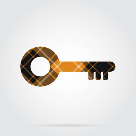 orange, black isolated tartan icon with white stripes - key and shadow in front of a gray background Illustration