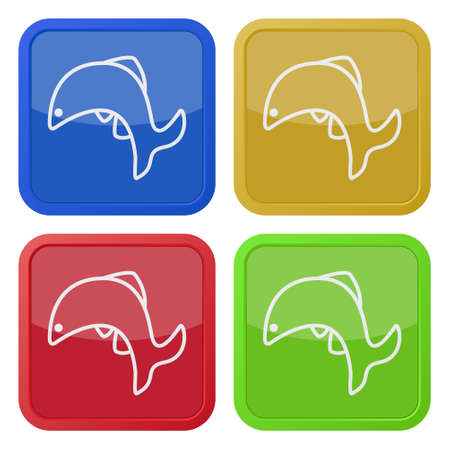 set of four square colored buttons and icons, jumping fish, dolphin Illustration