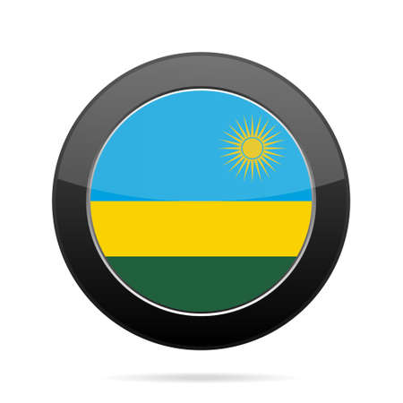 National flag of Rwanda. Shiny black round button with shadow. Illustration