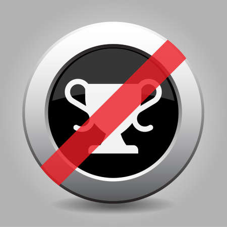 Black and gray metallic button with shadow. White sports cup banned icon.